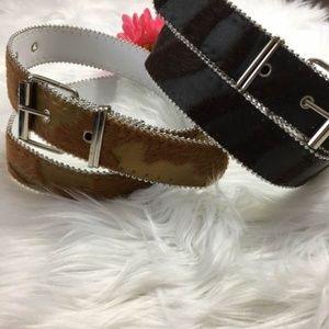 3/$15 Black & Brown Faux Cow Fur Belts Silver Trim